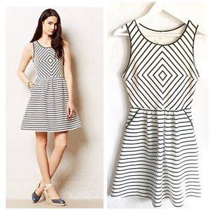 Anthropologie MEAVE Black & White Striped Dress